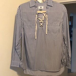 Old navy lace up striped tunic/blouse - Sz XS